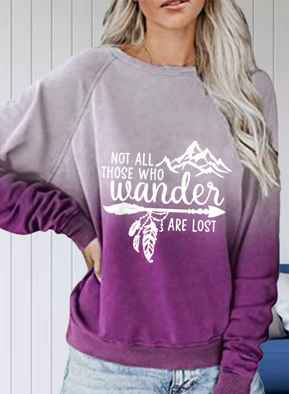 Purple Women's Sweatshirts Color Block Letter Print Long Sleeve Round Neck Casual Basic Sweatshirt LC2522846-8