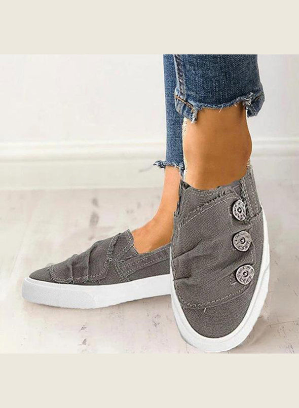 Gray Women's Sneakers Casual Canvas Flat Solid Sneakers LC12873-11