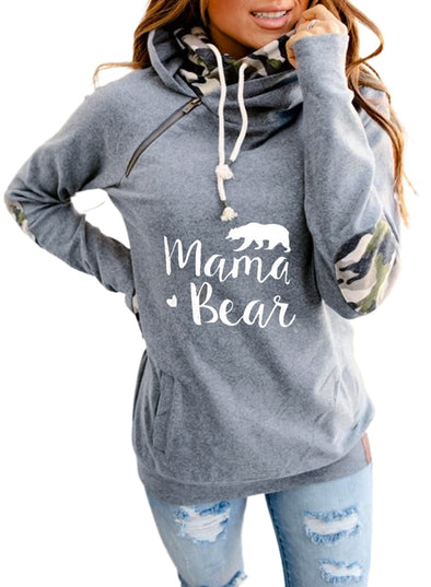Gray Mama Bear Long Sleeve Solid Hoodie LC2533622-11