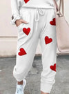 White Women's Loungewear Sets Heart-shaped Color Block Round Neck Long Sleeve Slim Ankle-length Two Piece Sets LC621536-1