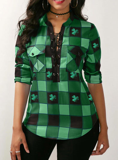 Green Women's Blouses Plaid Color Block Saint Patrick's Day Long Sleeve V Neck Knot Daily Blouse LC2516078-9