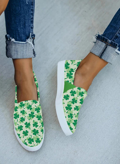 Green Women's Canvas Shoes Cute Letter Saint Patrick's Day Print Canvas Shoes LC12987-9