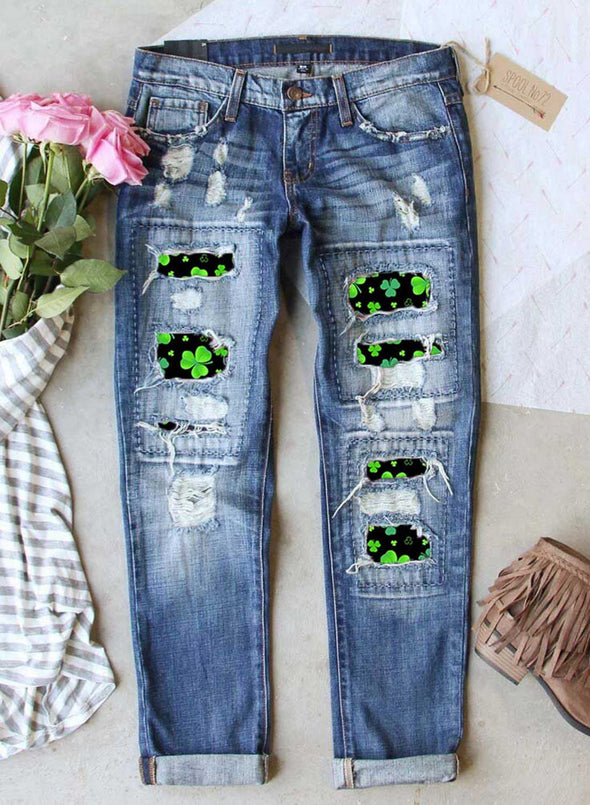 Blue Women's Jeans Leaf Color Block Slim Mid Waist Ankle-length Daily Jeans LC781425-5