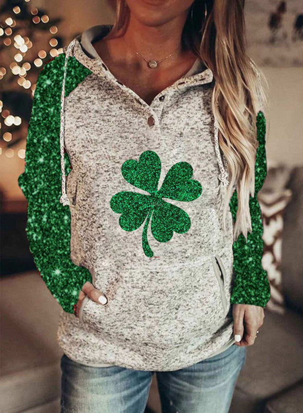 Green Women's Hoodies Color Block Saint Patrick's Day Long Sleeve Daily Sequin Drawstring Hoodie LC2537156-9