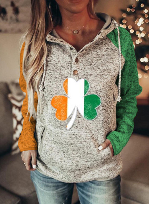 Multicolor Women's Hoodies Drawstring Flag Button Long Sleeve Color Block Pocket Hoodies LC2537203-22