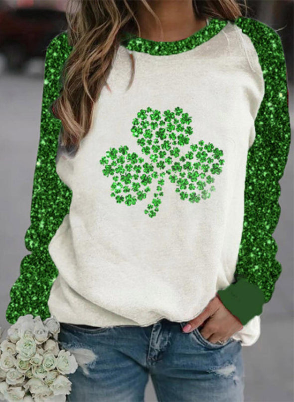 Green Women's Pullovers Casual Sequin Clover Color Block Round Neck Long Sleeve Daily Pullovers LC2537205-9