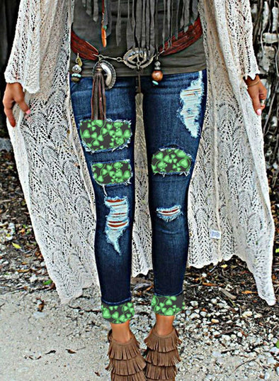 Blue Women's Jeans Four-leaf-clover Saint Patrick's Day High Waist Slim Full Length Pocket Ripped Jeans LC781424-5