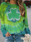 Green Women's Pullovers Casual Fruits & Plants Color Block Long Sleeve Round Neck Pullovers LC2516272-9