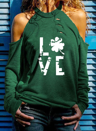 Green Women's Pullovers Saint Patrick's Day Clover Letter Long Sleeve Crew Neck Cut-out Cold Shoulder Pullover LC2516426-9