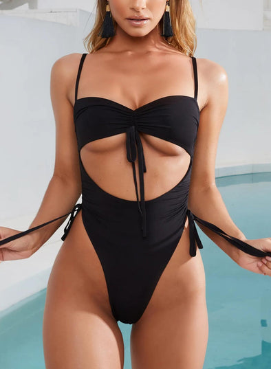 Black Women's Swim Suits Solid Open-back Adjustable Wire-free Spaghetti Sleeveless Summer Sexy One-piece Suits LC44475-2