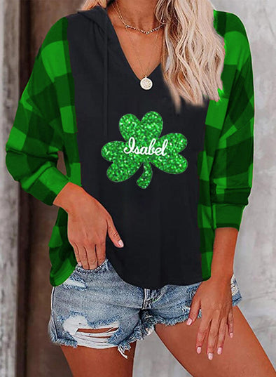 Green Women's Pullovers Plaid Clover Sequin Long Sleeve V Neck Casual Pullover LC2516569-9