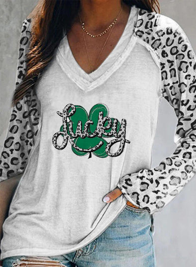 White Women's Pullovers Leopard Clover Letter Print Long Sleeve V Neck Casual Pullover LC2516583-1