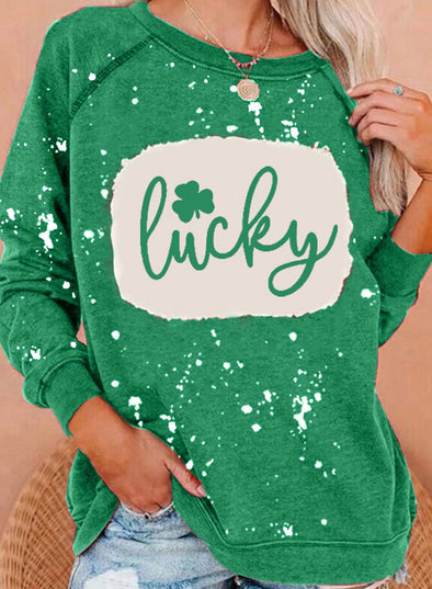 Green Women's Pullovers Letter Clover Print Abstract Long Sleeve Round Neck Casual Pullover LC2516588-9