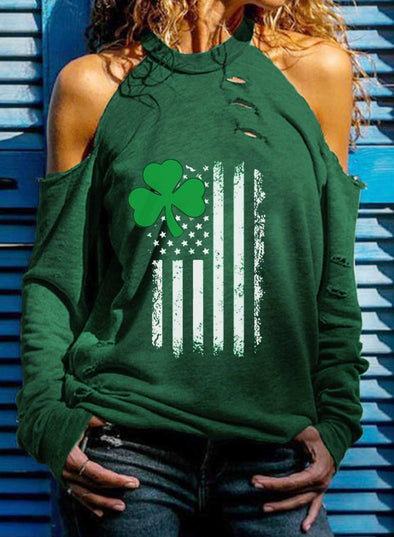 Green Women's T-shirts Solid Clover Flag Print Long Sleeve High Neck Cut-out Daily T-shirt LC2516589-9
