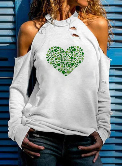 White Women's T-shirts Solid Heart-shaped Long Sleeve Stand Neck Cold Shoulder Daily T-shirt LC2516591-1