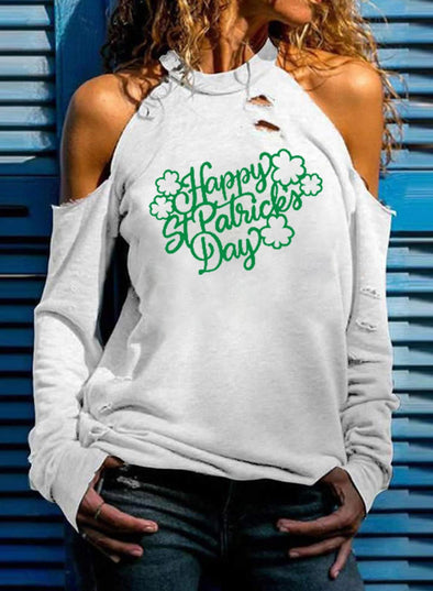 White Women's T-shirts Solid Clover Letter Print Long Sleeve Stand Neck Cut-out T-shirt LC2516592-1