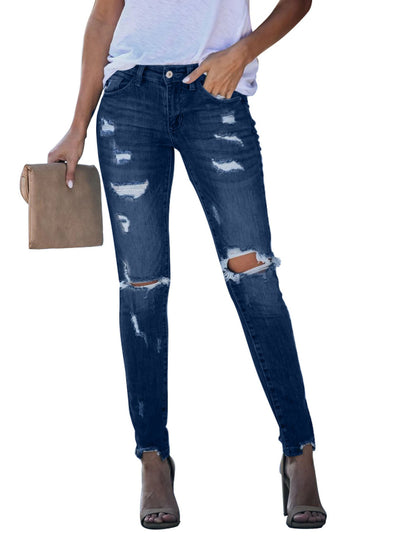 Blue Universal Distressed Frayed Skinny LC78024-5