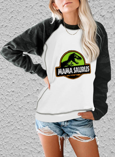White Women's Sweatshirts Animal Letter Print Long Sleeve Round Neck Casual Raglan Sleeves Color Block Sweatshirt LC2517093-1