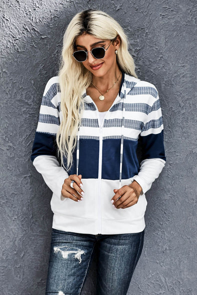 Striped Color Block Drawstring Zip Front Hoodie