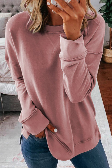 Khaki Crew Neck Long Sleeve Sweatshirt