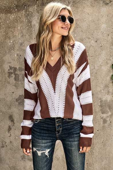Women's Sweaters Striped Colorblock V Neck Knitted Sweaters
