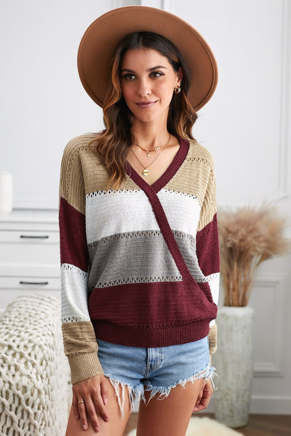 Women's Sweaters Wine Color Block Deep V Neck Wrap Sweaters