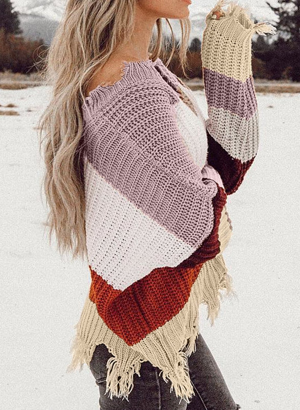 Women's Sweaters Casual Striped Distressed Sweaters