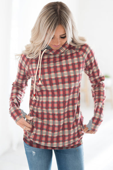 Cowl Neck Plaid Drawstring Hoodie with Thumb Hole