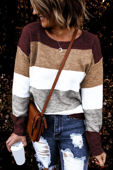 Women's Sweaters Round Neck Colorblock Knitting Sweaters