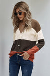 Women's Cardigans V Neck Buttoned Closure Colorblock Cardigans