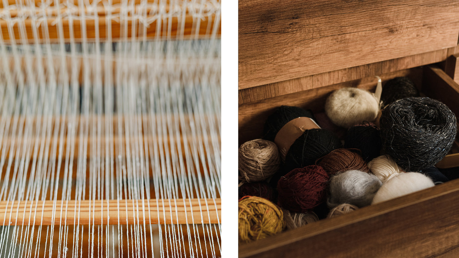 A traditional weaving loom and a collection of rustic yarns.