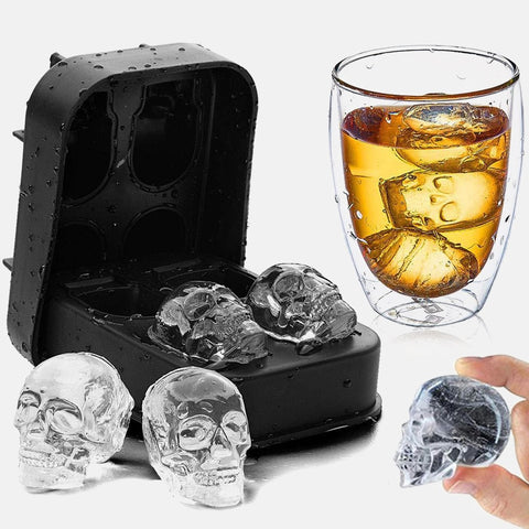 3D Skull Silicone Mold Ice Cube Maker Chocolate Mould Tray Ice Cream DIY Tool Whiskey Wine Cocktail Ice Cube Best Sellers