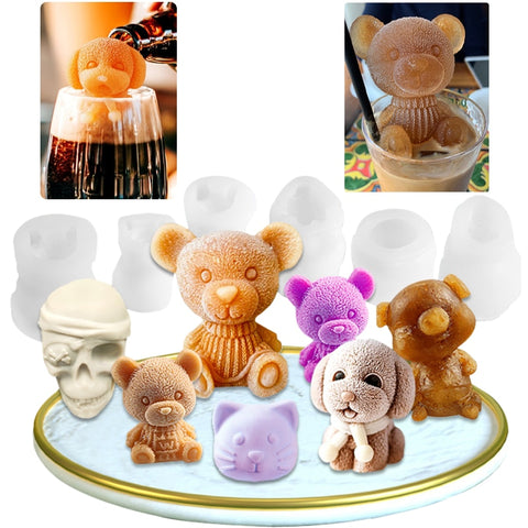 Ice Cube Maker Little bear dog Skull Tray Ice Cream Silicone Mould Cool Mold Whiskey Wine