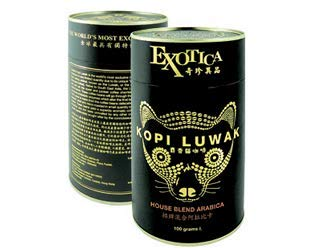 100% Wild Genuine World Most Expensive Coffee Kopi Luwak Arabica House Blend Ground Gourmet Coffee (100g)