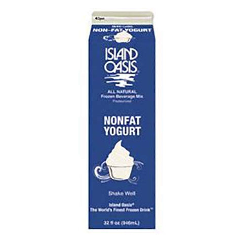 Island Oasis Non Fat Yogurt, 32 Ounce -- 12 per case.