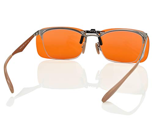 Clip-on Blue Blocking Amber Lenses for Sleep - BioRhythm Safe(TM) - Nighttime Eye Wear - Special Orange Tinted Lenses Help You Sleep and Relax Your Eyes (Nighttime Lens)
