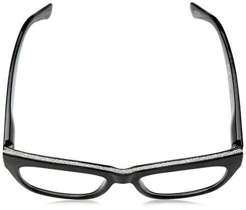 Peepers by PeeperSpecs Women's Shine Square Reading Glasses, Black-Focus Blue Light Filtering Lenses, 53 mm + 3