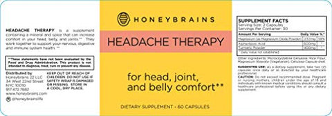 Honeybrains Headache Therapy  100% Natural Supplements for Headache & Migraine Relief, Sound & Light Sensitivity, Nausea & Joint Pain | Clinically Proven, Powerful Natural Ingredients | 60 Capsules