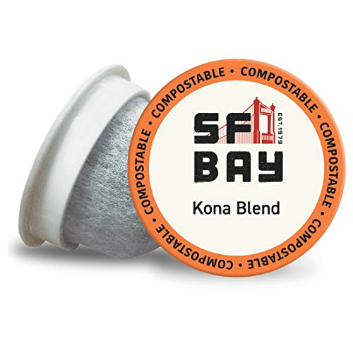 SF Bay Coffee Kona Blend 80 Ct Medium Roast Compostable Coffee Pods, K Cup Compatible including Keurig 2.0