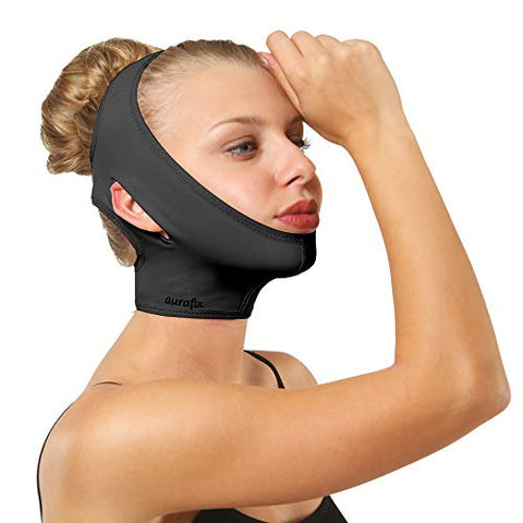 Post Surgical Chin Strap Bandage for Women - Neck and Chin Compression Garment Wrap - Face Slimmer, Jowl Tightening, Chin Lifting (Black, Medium (Pack of 1))