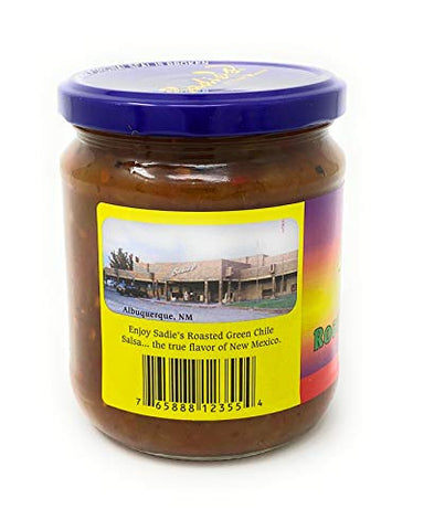 Sadie's of New Mexico Roasted Green Chile Hot Salsa 16oz (1)