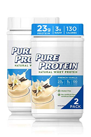 Natural Whey Protein Powder by Pure Protein, Gluten Free, French Vanilla, 1.6lbs, 2 Pack