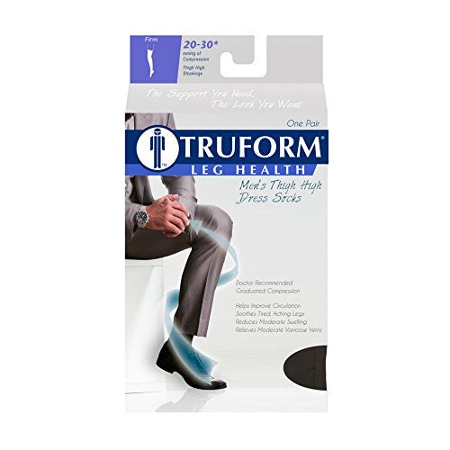 Truform Compression Socks, 20-30 mmHg, Men's Dress Socks, Thigh High Over Knee Length, Black, Large