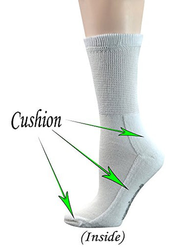 Yomandamor Women's 5 Pairs Non-Binding Cotton Crew Diabetic/Dress Socks with Seamless Toe and Cushion Sole