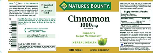 Cinnamon by Nature's Bounty, Herbal Supplement, Supports Sugar Metabolism, 1000mg, 100 Capsules (Pack of 3)
