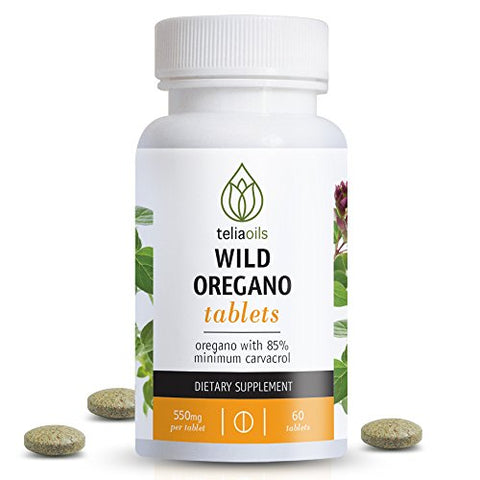 Teliaoils Wild Oregano Tablets from Oregano with Over 85% Carvacrol. Top Quality. Ideal to Boost The Immune System. Powerful antioxidant