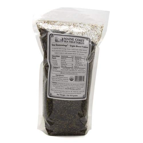 Triple Flakes Blend | Dulse, Laver, and Sea Lettuce | 1 Pound | Organic Seaweed Seasoning | Maine Coast Sea Vegetables