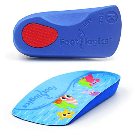 Footlogics Fun Kids Orthotic Shoe Insoles with Arch Support for Childrens Heel Pain (Severs Disease), Growing Pains, Flat Feet - Childrens, Pair 3/4 Length (Kids 1-3, Blue)