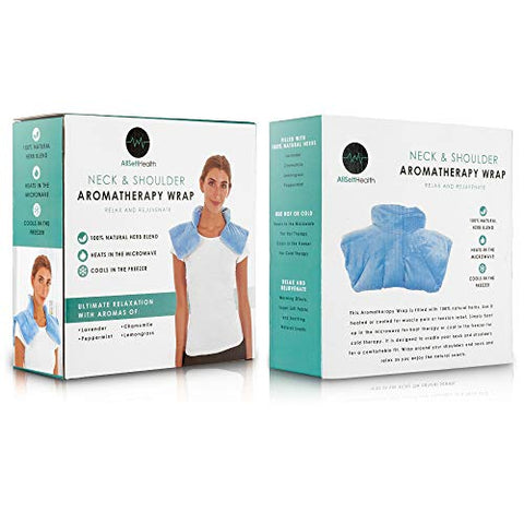 Microwavable Heating Pad for Neck and Shoulders - Weighted Hot & Cold Plush Wrap Pad, Deep Pressure Relief, Herbal Aromatherapy, Comfort Fit Design - 3lbs
