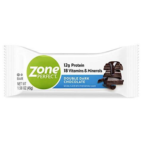 ZonePerfect Protein Bars, Double Dark Chocolate, High Protein, With Vitamins & Minerals, 1.58 Ounce (30 Count)